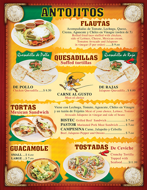Tacos Madrigal Menu 2016 Page 3